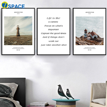 Seascape House Lighthouse Quote Nordic Posters And Prints Wall Art Canvas Painting Landscape Wall Pictures For Living Room Decor