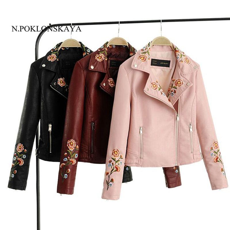 Embroidery   basic     jacket   coat faux leather outerwear & coats women zipper short winter bomber   jacket   autumn female casual coat