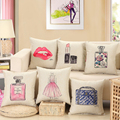 Luxury Fashion Decor Cushion Cover Cosmetics Lipstick Perfume Bottle Logo Pillow Case Linen Cotton Cushions Covers