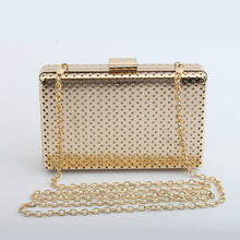 Women Metal Clutches Top Quality Hexagon Mini Party Black Evening Purse Silver Bags Gold Box Clutch