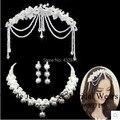 Nueva llegada del envío libre rhinestone de la aleación de la joyería nupcial conjuntos pendientes collar moño con regalos pareja anillos y pulsera