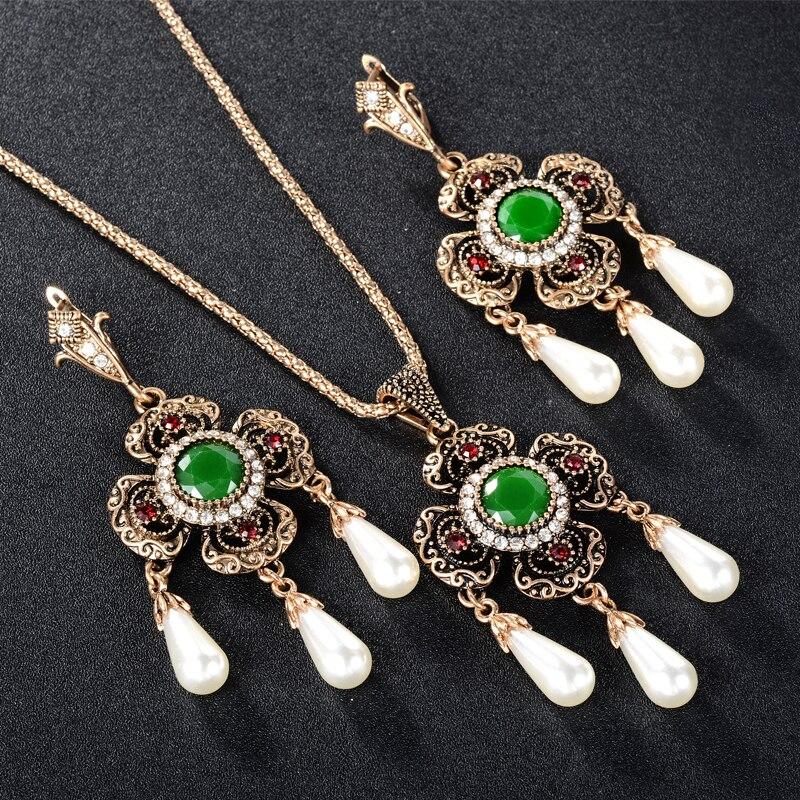 Купить ожерелье и серьги с африканским жемчугом свадебные золотые ювелирные