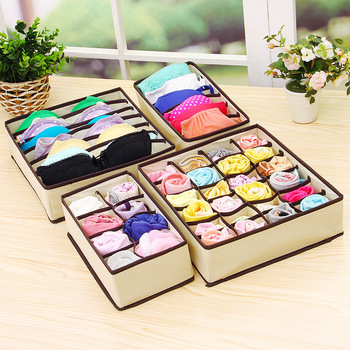 4 pcs/Set Multifunct Foldable Storage Bra Box Non-woven Fabric Fold Cases Necktie Socks Underwear Clothing Organizer Container