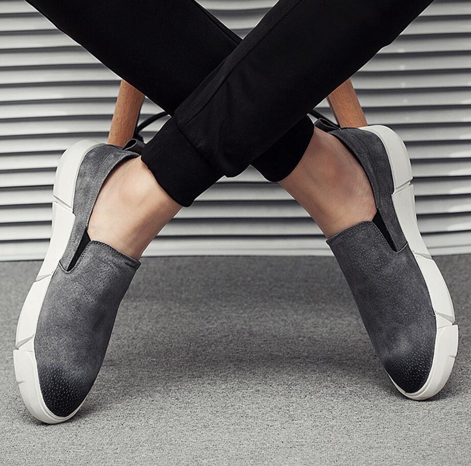 Baixo Casuais De Ajuda 2018 Adulto Preto Mocassins Personalidade Nova Primavera Couro Homens cinza Sapatos Porco Dos Aumentar TS6qTPn