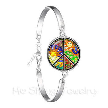 Peace Symbol Sun God Time Gem Bracelet European And American Fashion Accessories Hope For World Peace Glass Dome Chain Bangle image