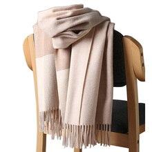 2020 nowy prawdziwy kaszmirowy szalik Stole Plaid wełniane szale dla kobiet Winter Warm kobieta Poncho Cape Fashion Lady 100 Pashmina szale