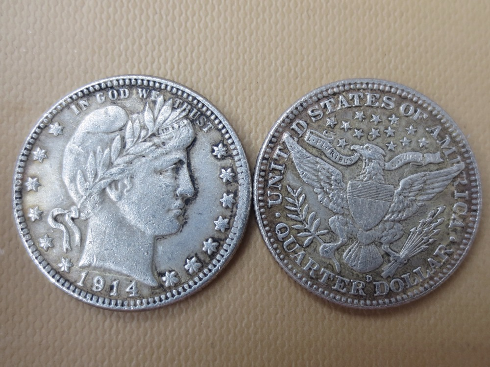 90% серебра или посеребренные США монеты 1914-d Barber КВАРТАЛА ДОЛЛАРОВ Розничная/оптовая продажа США Копировать монеты