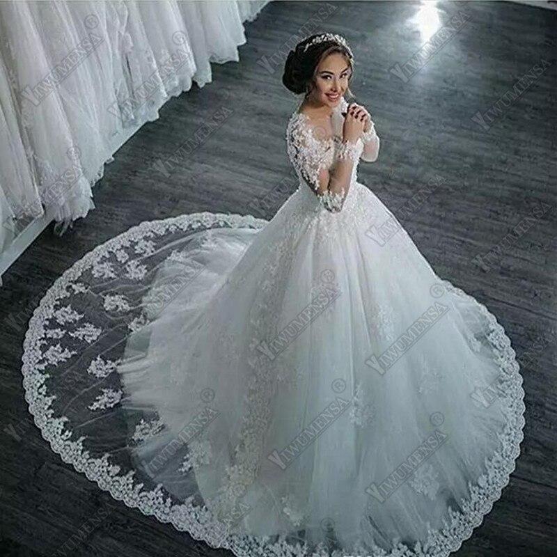Image 2 - Robe de mariage Ball Gown Wedding Dress 2018 Long Sleeves Skin Tulle Wedding Gowns Luxury Beaded Bride Dresses Vestido de Novia-in Wedding Dresses from Weddings & Events