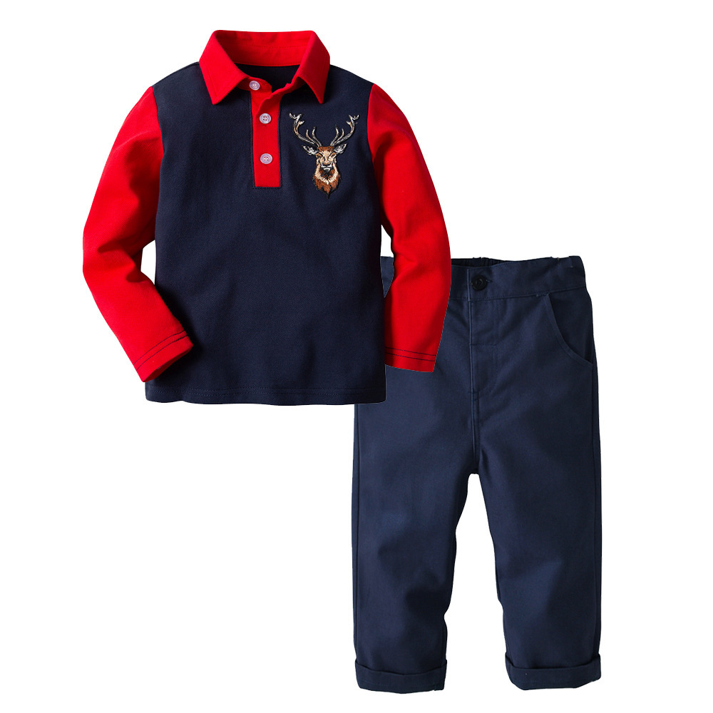 Boy's Clothing Set 2 10 Y Spring Autumn Long Sleeve POLO T shirt & Denim Pant Kids Fashion Embroidery England Style T Shirt Suit