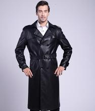 Korean winter black suits collar casual leather coats men slim ouble breasted long coat mens leather trench coats fashion 4XL winter slim motorcycle long leather coats men casual double breasted coat mens leather trench coats lapel black fashion m 3xl