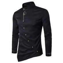 Новинка, модная мужская рубашка с длинным рукавом, мужская одежда на косой пуговице, рубашки с воротником-стойкой, мужские рубашки-смокинги