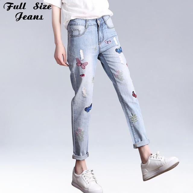 0dac94575cd Boyfriend Plus Size Loose Harem Nine Jeans Embroidery Women Ripped Beggar Denim  Pants Large Size Capris 4Xl 6Xl 5Xl
