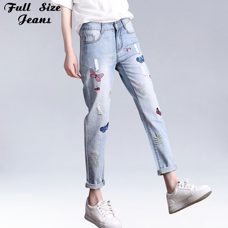 Boyfriend Plus Size Loose Harem Nine   Jeans   Embroidery Women Ripped Beggar Denim Pants Large Size Capris 4Xl 6Xl 5Xl