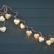20 Metal Heart Battery Operated LED Fairy Lights String 3 3M for Wedding Party Christmas Holiday