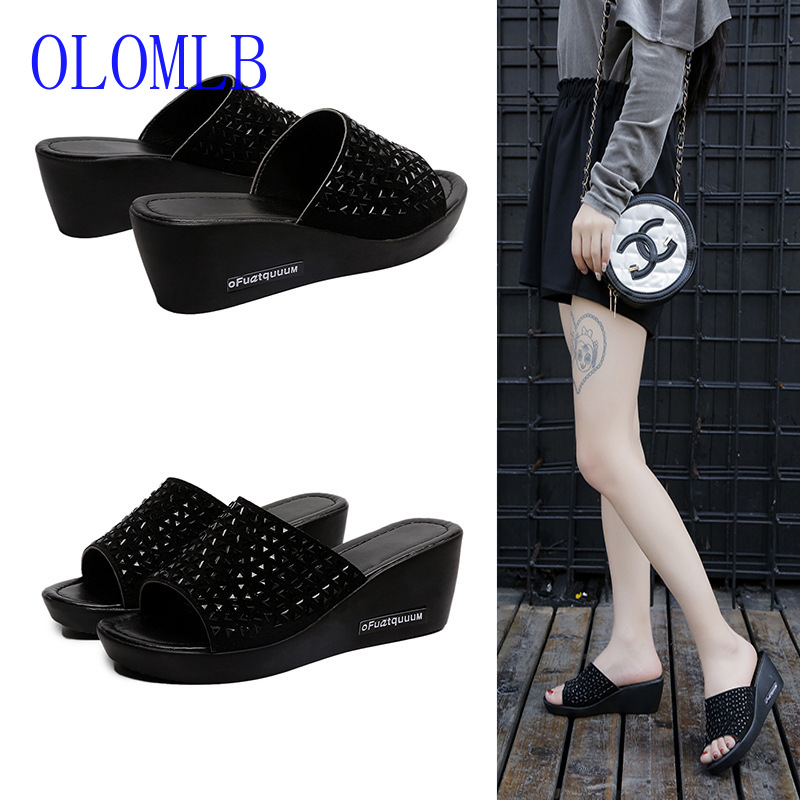 OLOMLB Women Slippers Sandals Open-Toe Outside Female Thick PU Wedges Size-35--40 Soled