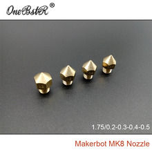 4Pcs Special Offer Makerbot MK8 Nozzle 0.2/0.3/0.4/0.5mm For ABS PLA 1.75mm Supplies 3D Printer Accessories Free Shipping