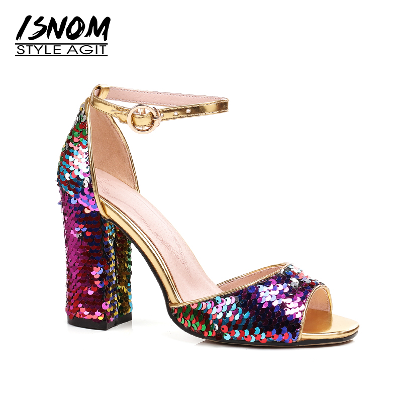 ISNOM New Sequined Cloth High Heels Sandals Women Peep Toe Bling Footwear Fashion 2018 Summer Ankle