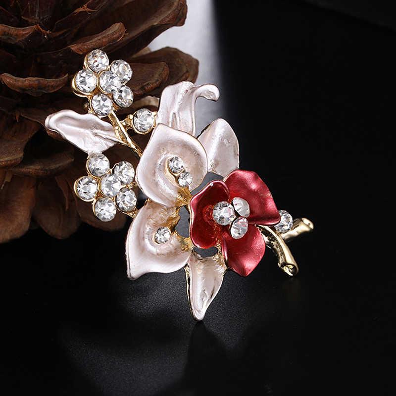 Baru Elegan Wanita Drip Crystal Bunga Bros Pin Romantis Bros untuk Wanita Pesta Pernikahan Hijab Pins Bridal Pin 373358