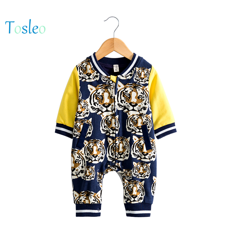2018 Spring Baby Rompers Tiger Animal Printed Baby Costume Toddler Clothes Top Quality Kid Rompers 100% Cotton