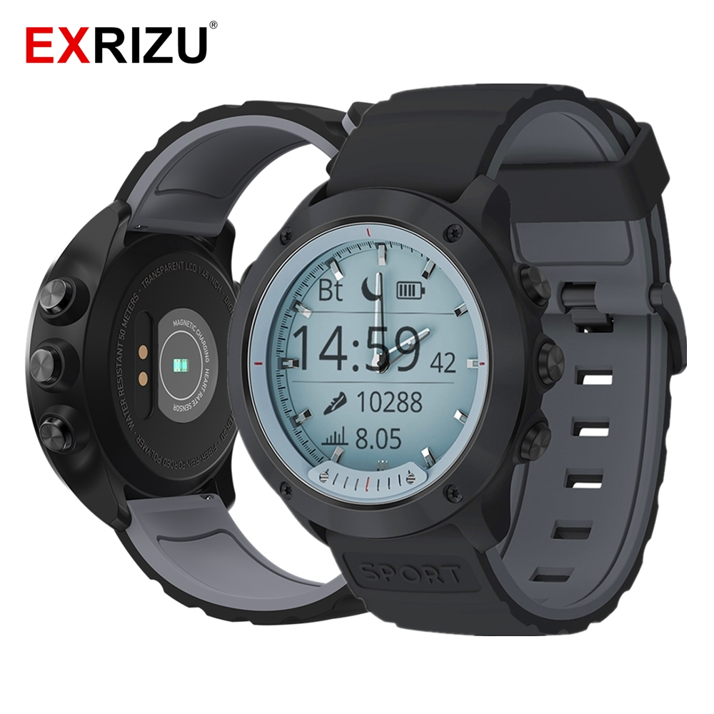 EXRIZU Smart Watch Transparant Screen IP68 Waterproof Bezel Case Smartwatch Silica Gel Band Luminous Needles Heart