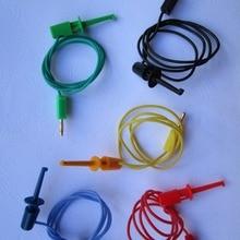 """1 комплект позолоченный 2 мм штекер типа """"банан"""" для зондов небольшого размера, тестовый крюк с зажимом, свинцовый кабель 5 цветов 50 см"""