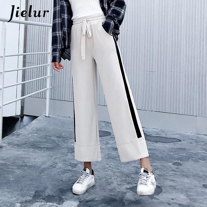 Jielur Fashion Black Trousers for Women Side Stripe High Waist Pocket Capris   Pants   Knitted Slim Casual   Wide     Leg     Pants   Dropship