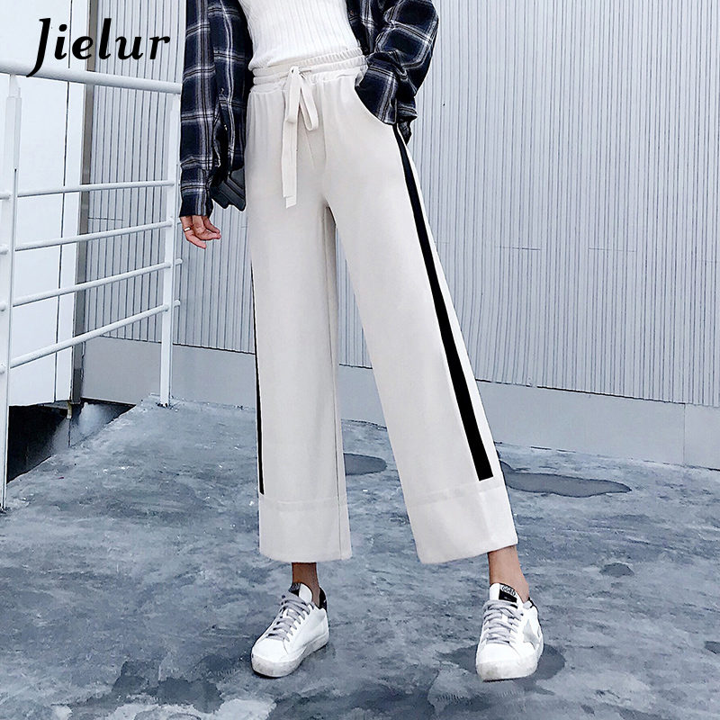 Jielur Fashion Black Trousers for Women Side Stripe High Waist Pocket   Capris     Pants   Knitted Slim Casual Wide Leg   Pants   Dropship