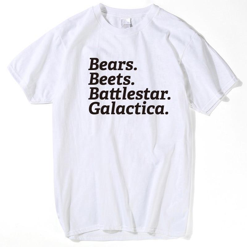 Bears Beets Battlestar Galactica T Shirt Men Short Sleeve O-neck T-shirt  The Office TV Show Costume Funny Men T Shirt 2017