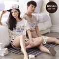Pijamas de Las Mujeres Del Verano 100% ropa de Dormir de Algodón de manga Corta Amor Hombres Mujeres Parejas Pijamas Conjuntos salón Pijama