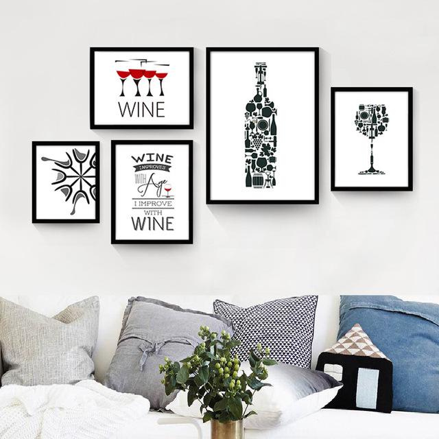 Pittura Moderna Dipinti Su Tela Tazza di Vino Rosso Bottiglia Da ...