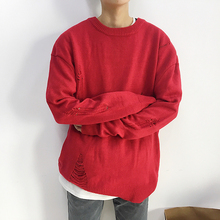 2017 autumn and winter new design loose Korean sweater youth casual round neck solid color shirt Free shipping