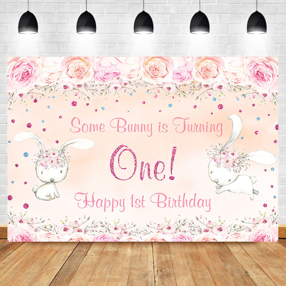 Cute Animal 1th Birthday Backdrop Some Bunny Is Turning