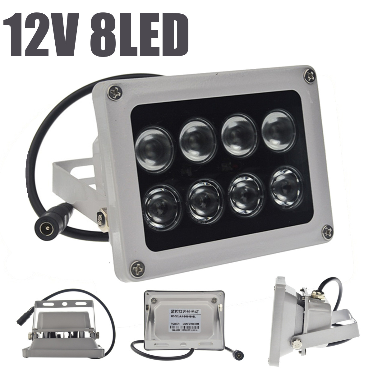 Infrared Light Lamp 8 LEDs IR Night Vision Wide Angle IP65 W