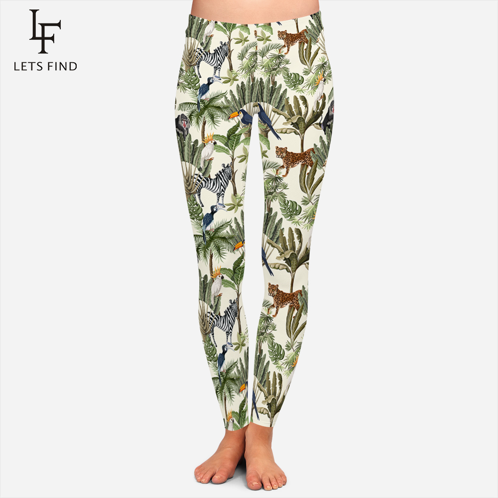 New Animal Leggings Women Digital Printing Zebra Parrot Leopard Baboon Leaf Print Legging Famle Push Up Plus Size Warm Leggings