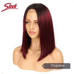 Sleek прямо боб парик бразильский Синтетические волосы на кружеве человеческих волос парики для Для женщин Волосы remy часть кружева парик Ombre