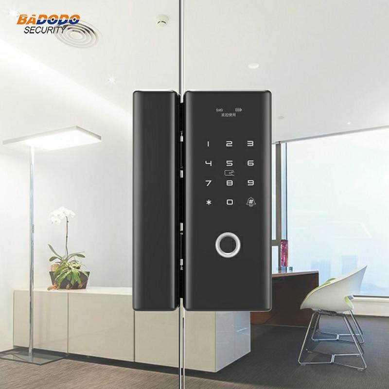 Smart keyless Fingerprint door lock biometric lock with IC card password for home office frameless glass