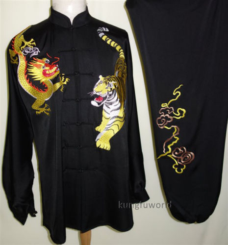 Tai chi Uniform Black Satin Fabric Dragon Tiger Embroidery Kung fu Costumes Competition Suit Taiji Clothing 2016 chinese tang kung fu wing chun uniform tai chi clothing costume cotton breathable fitted clothes a type of bruce lee suit