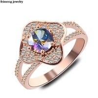 도매 20 개 꽃 반지 큰 반지 약혼 웨딩 칵테일 패션 실버 골드 Anillos 크리스털 Austriaco