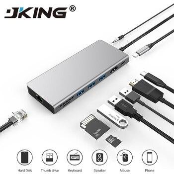 JKING 9-in-1 USB C Type C HUB USB-C to HDMI 4K SD/TF Card Reader PD charging Gigabit Ethernet Adapter Dongle for MacBook Pro HUB