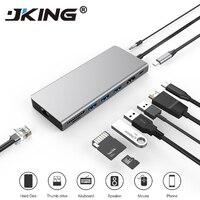 JKING 9 in 1 USB C Type C HUB USB C to HDMI 4K SD/TF Card Reader PD charging Gigabit Ethernet Adapter Dongle for MacBook Pro HUB