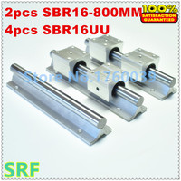 2pcs 16mm diameter linear rail SBR16 L800mm linear motion guide rail + 4pcs SBR16UU Bearing Blocks