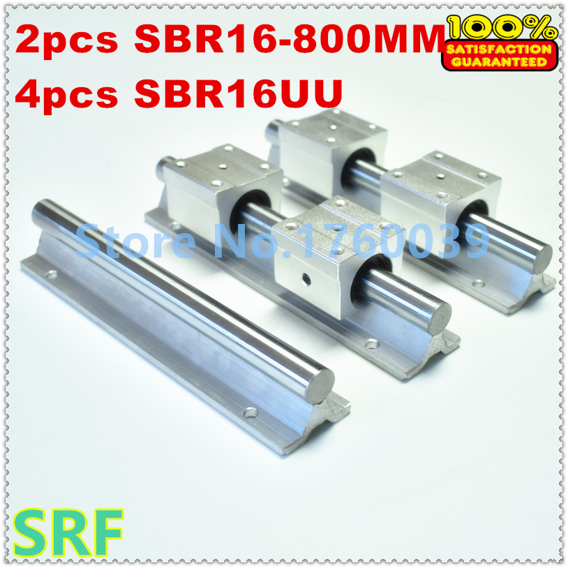 2pcs 16mm diameter linear rail SBR16 L800mm linear motion guide rail + 4pcs SBR16UU Bearing Blocks sbr16 linear guide rail set 2pcs sbr16 l 1050mm linear shaft rail support 4pcs sbr16uu linear motion bearing blocks for cnc