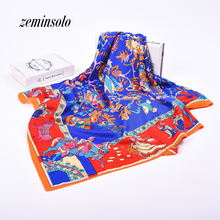 2017 New Design Women Polyester Big Square Silk Scarf 130*130cm Hot Sale Satin Scarves For Women Bandana Printed Shawl Hijab(China)