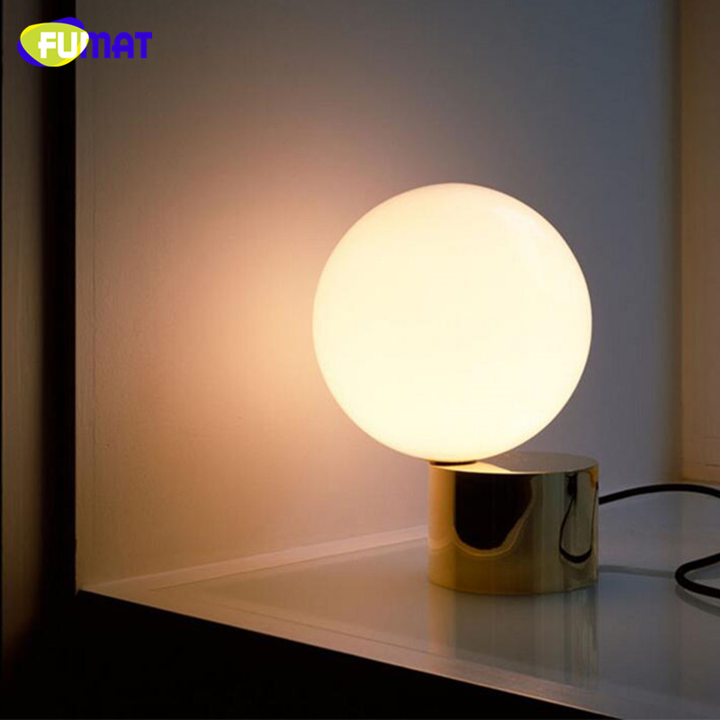 SGROW Gold Base Glass Ball Table Lamp with E27 Bulb Indoor Lighting White Stand Desk Lights for Bedroom Dinning Room Led Lamps ...