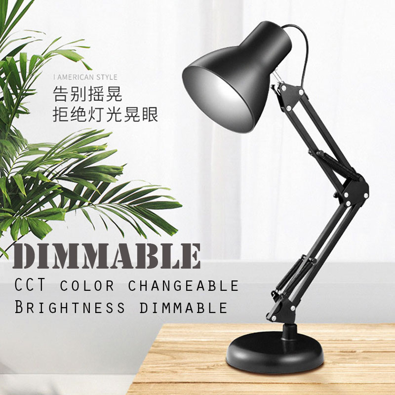 все цены на Flexible Swing Arm Clamp Mount Desk Lamp Black Table Light Reading Lamp for Home Office Led Table Lamp Reading Led Light