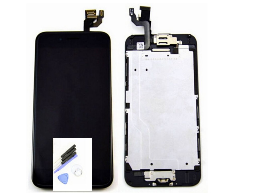 ФОТО Lcd display screen+touch glass panel digitizer+Home button+Front camera flex cable assembly for iphone 6 white/black color