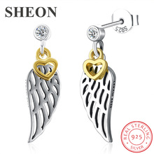 SHEON Authentic 925 Sterling Silver Trendy Wings Drop Earrings With Gold Heart For Women Jewelry Free Shipping