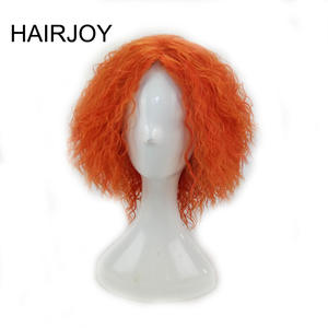 HAIRJOY Mad Hatter Cosplay Kinky Curly Wig Synthetic Hair Woman Medium Length Orange Wigs High Temperature Fiber Free Shipping