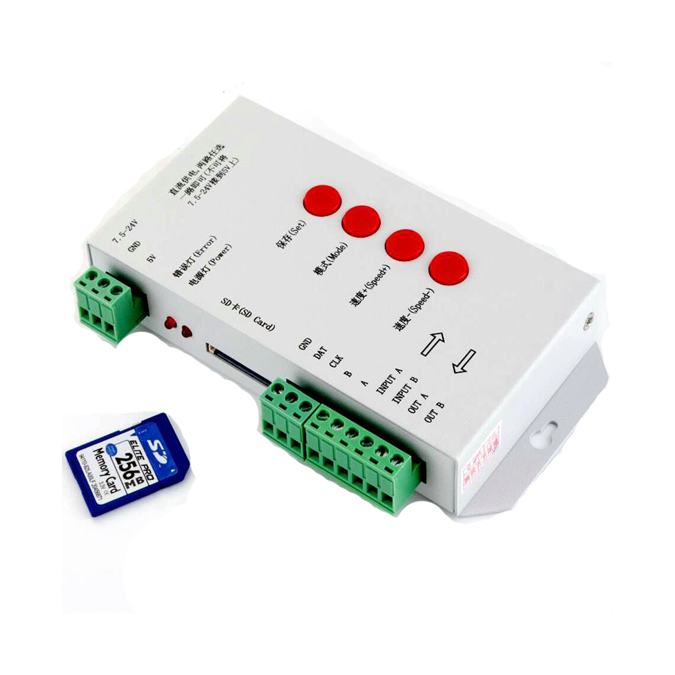 цена на T-1000S SD Card LED Controller Pixel Led Control Pixel Controller Support DMX512 ws2811 RGB Controller with 256MB Memory card