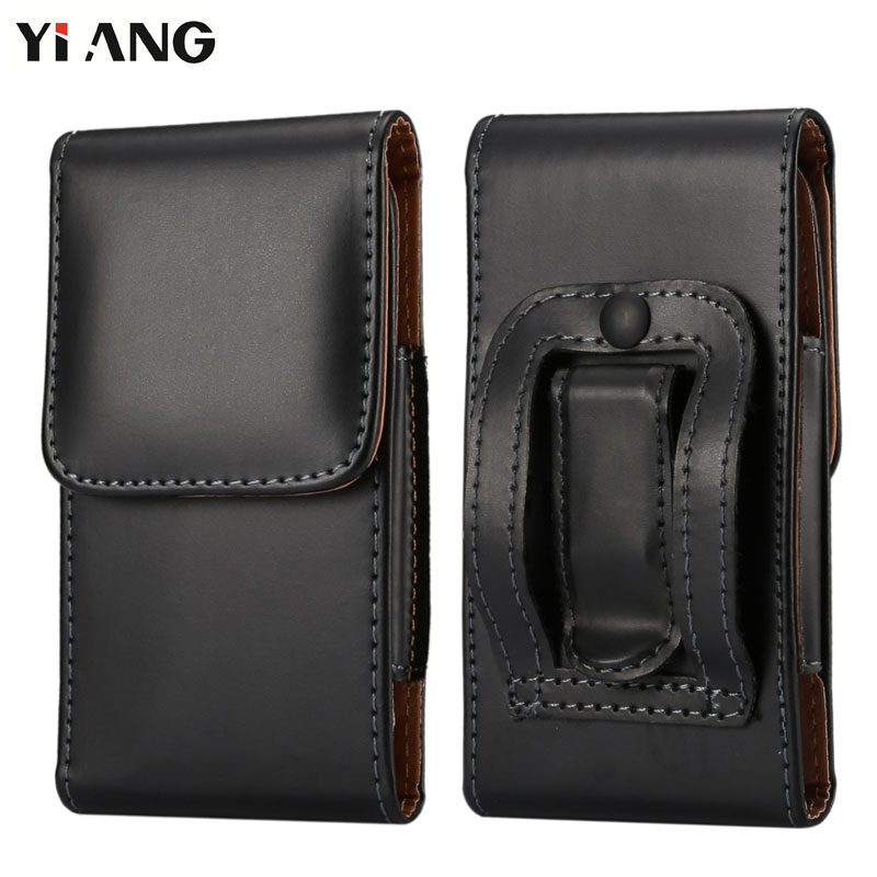 YIANG Fashion Men PU Leather Waist Packs Phone Pouch Bags Hook Loop Belt Clip Case Waist Bag Black Mobile Phone Bags 6 Size